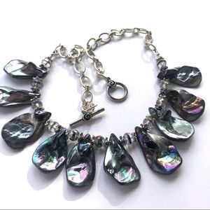 Abalone Teardrop beads and Chez Crystals. Necklace